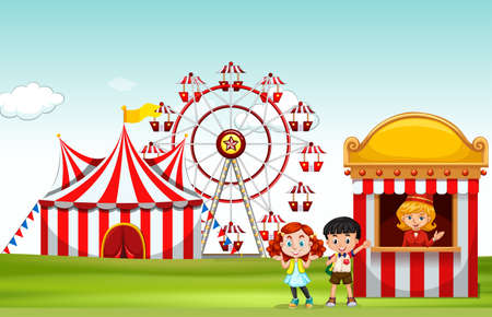 amusement park rides: Children buying ticket at the fun park illustration