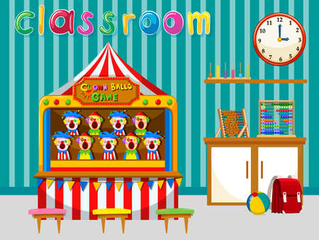 secondary school: Classroom with game and tools illustration