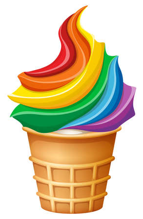 Rainbow ice-cream in cone illustration