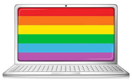 laptop screen: Computer laptop with rainbow screen illustration