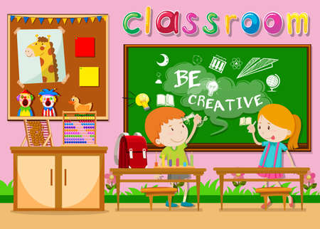 class room: Children studying in the classroom illustration Illustration