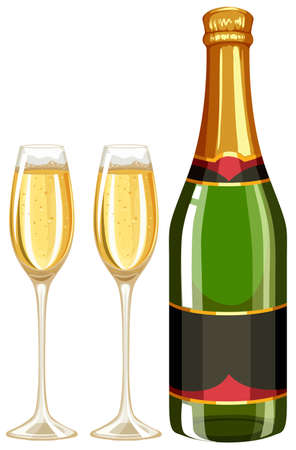 alcohol series: Champagne bottle and two glasses illustration