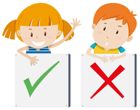 to the right: Girl with right sign and boy with wrong sign illustration