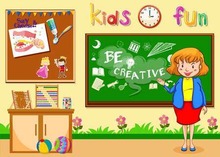 teaching adult: Female teacher teaching in the classroom illustration