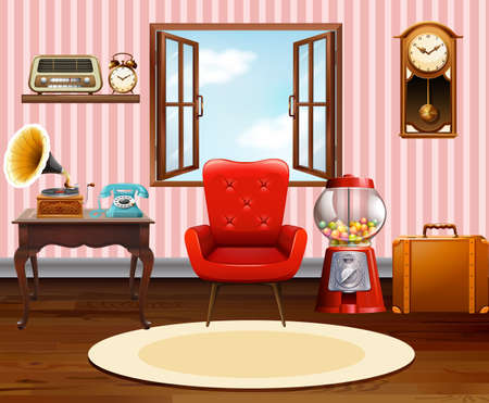 living style: Living room with vintage objects illustration