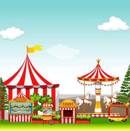 performance art: Amusement park with many rides illustration Illustration