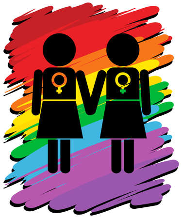 lesbian love: Lesbians with rainbow background illustration