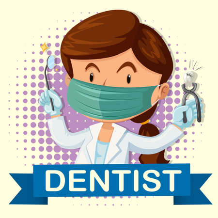 dentist woman: Female dentist with tooth and tools illustration
