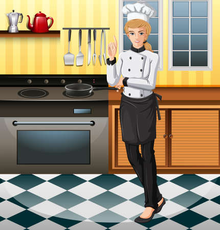 female chef: Female chef working in the kitchen illustration