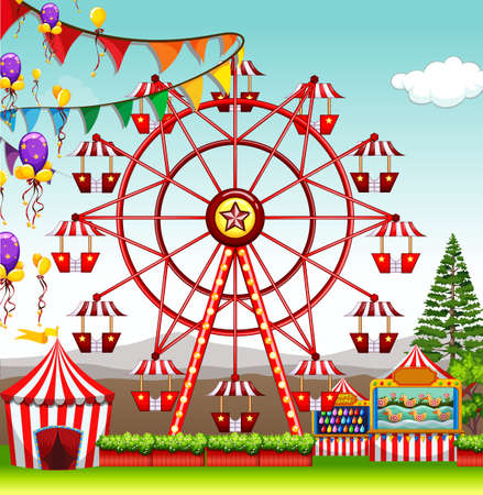 amusement park rides: Ferris wheel at the amusement park illustration