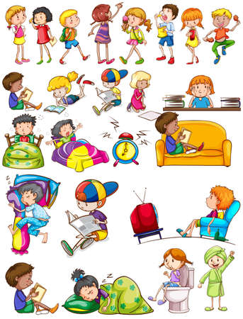 routine: Boys and girls doing activities illustration Illustration