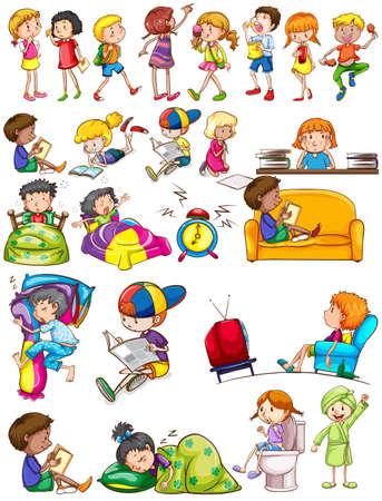 Boys and girls doing activities illustration Illustration