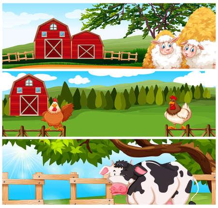 sheep barn: Farm animals on the farm illustration