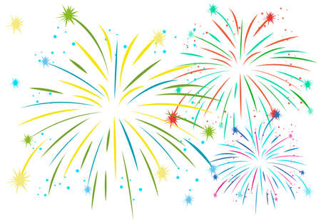 independent day: Firework in many colors illustration Illustration