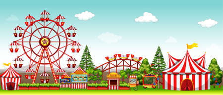 Amusement park at daytime illustration Çizim