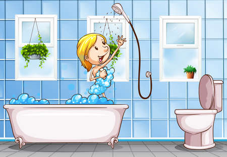 routine: Woman taking shower in the bathroom illustration