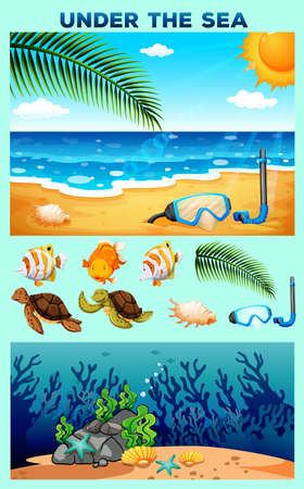 carnivorous: Ocean theme with beach and underwater illustration