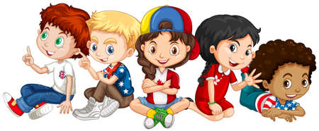 child sitting: Children from many countries illustration