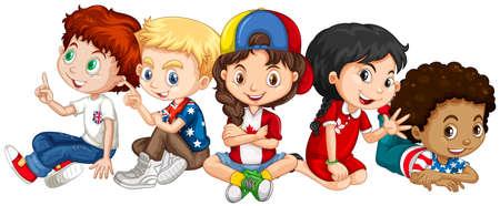 niños sentados: Los niños de muchos países ilustración