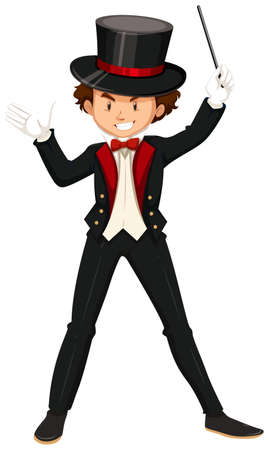 illusionist: Male magician in black suit illustration