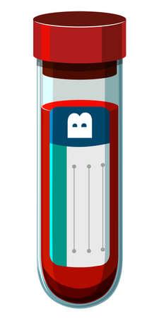 test tube: Blood type B in test tube illustration Illustration