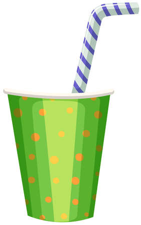 straw: Party cup with striped straw illustration