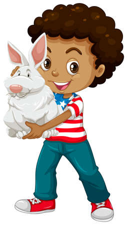 adolescent african american: American boy holding a white rabbit illustration