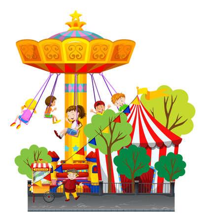 Swing ride at the theme park illustration Illustration