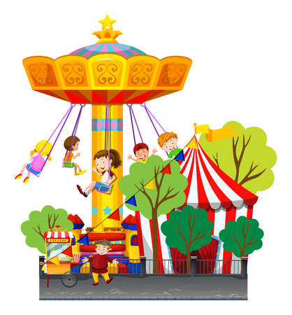 Swing ride at the theme park illustration Stock Vector - 48833862