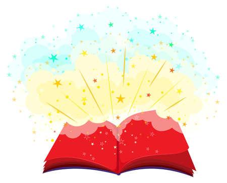 Open book full of magic illustration