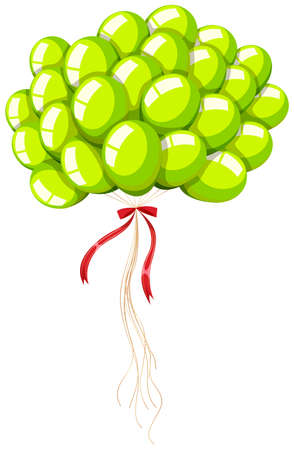 bunch: Green balloons with string illustration