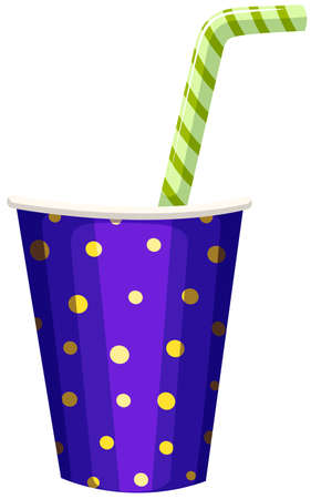 soft drinks: Single cup of drink with straw illustration