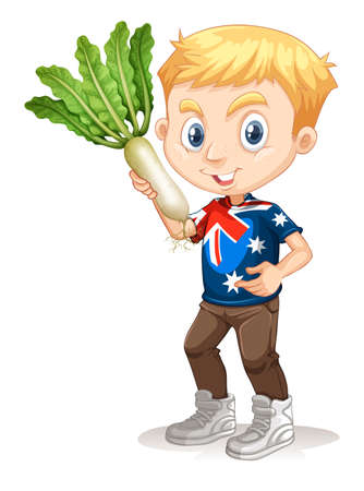 australian ethnicity: Little boy holding white radish illustration Illustration