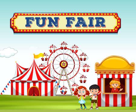 fun fair: Children buying ticket at fun fair illustration
