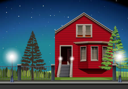 night: Private house at night time illustration