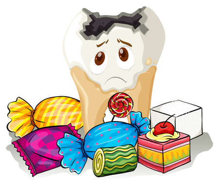 Tooth decay and sweet candy illustration Illustration