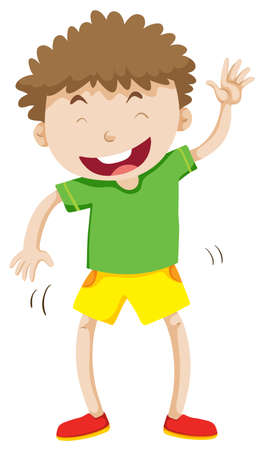 curly hair: Little boy with curly hair laughing illustration Illustration