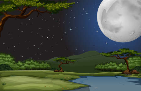 Nature scene on fullmoon night illustration Stock Illustratie