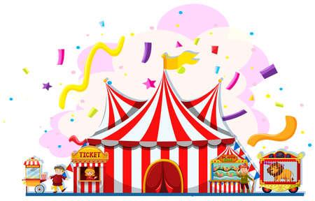 carnaval: Les personnes qui travaillent à la fête foraine illustration