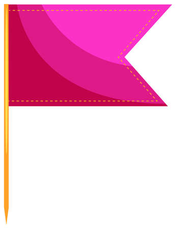close up food: Single food flag in pink illustration