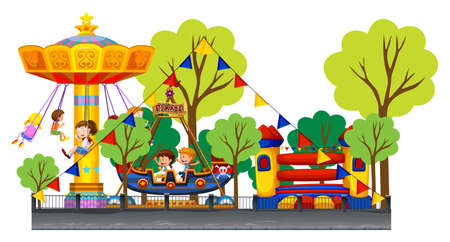 kids fun: Different rides at the carnival illustration Illustration