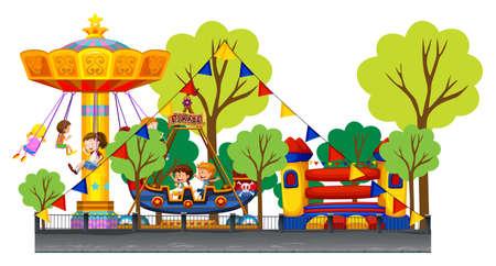 Verschillende attracties op het carnaval illustratie