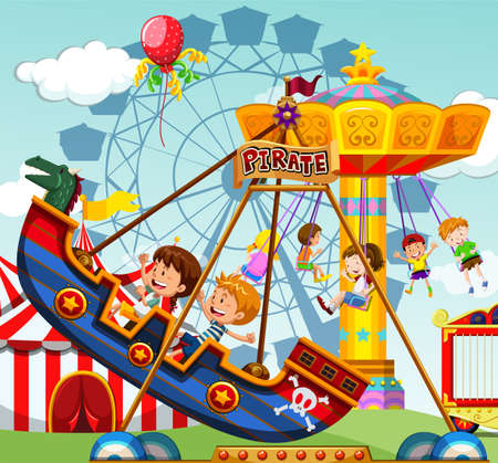 amusement park rides: Children riding on rides at the funfair illustration