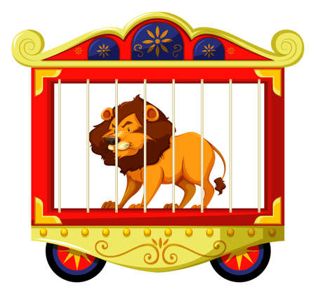 Lion in circus kooi illustratie Stock Illustratie