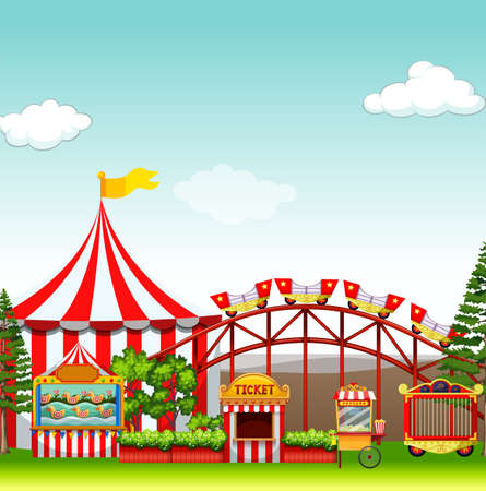 Shops and rides at the amusement park illustration