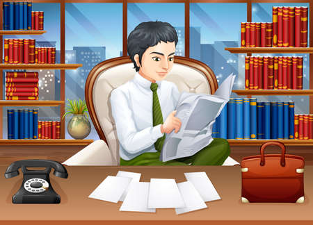 drawing room: Businessman reading papers in the office illustration
