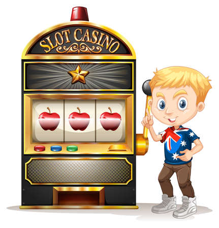 young boy smiling: Boy standing next to slot machine illustration