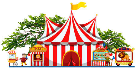 amusement park rides: Amusement park with tent and vendors illustration