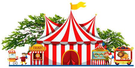 Parque de atracciones con la tienda y vendedores ilustración Ilustración de vector