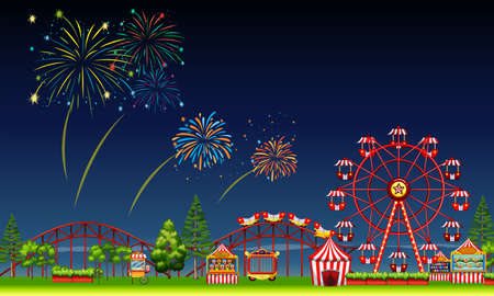 amusement park rides: Amusement park scene at night with fireworks illustration